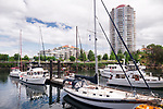 Yachts and motor boats docked at Nanaimo waterfront harbour Vancouver Island, British Columbia, Canada 2017