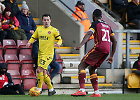 Fleetwood Town's Ross Wallace tries to find a way past Bradford City's Hope Akpan<br /> <br /> Photographer David Shipman/CameraSport<br /> <br /> The EFL Sky Bet League One - Bradford City v Fleetwood Town - Saturday 9th February 2019 - Valley Parade - Bradford<br /> <br /> World Copyright &copy; 2019 CameraSport. All rights reserved. 43 Linden Ave. Countesthorpe. Leicester. England. LE8 5PG - Tel: +44 (0) 116 277 4147 - admin@camerasport.com - www.camerasport.com