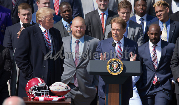 Coach Nick Saban speaks during the welcoming of the 2017 NCAA Football National Champions: The Alabama Crimson Tide to the White House in Washington, DC, March 10, 2018. Photo Credit: Chris Kleponis/CNP/AdMedia