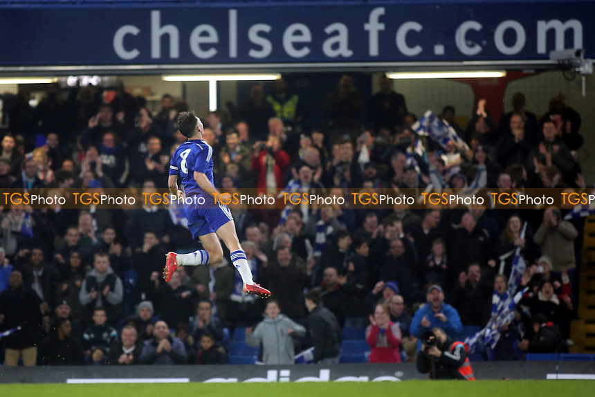 Charlie Colkett leaps into the air after scoring Chelsea's 4th goal - Chelsea Youth vs Tottenham Hotspur Youth - FA Youth Cup Semi-Final 2nd Leg Football at Stamford Bridge, London - 18/03/15 - MANDATORY CREDIT: Paul Dennis/TGSPHOTO - Self billing applies where appropriate - contact@tgsphoto.co.uk - NO UNPAID USE