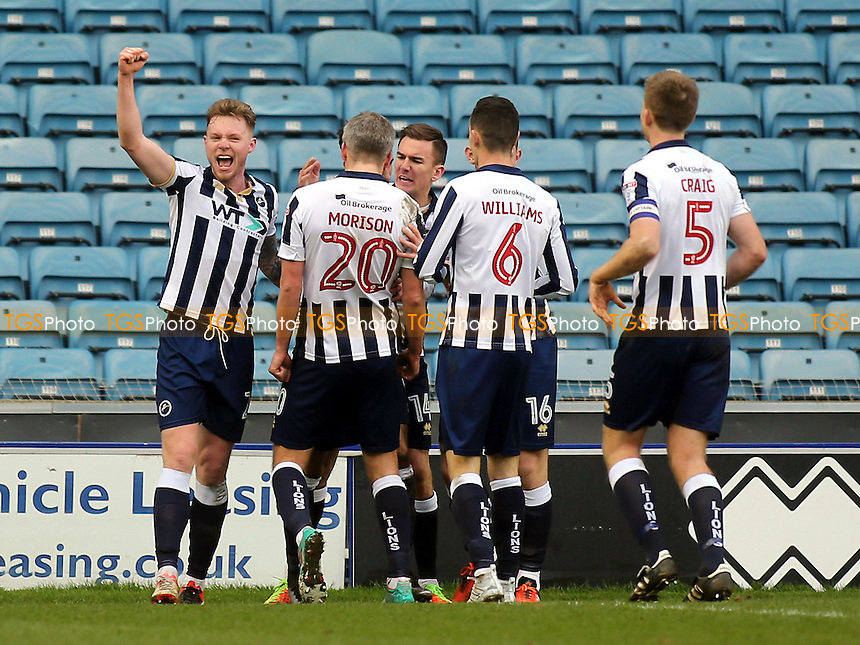 Millwall players congratulate Lee Gregory after scoring their second goal during Millwall vs MK Dons, Sky Bet EFL League 1 Football at The Den on 4th March 2017
