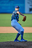 Jeff Belge (31) of the Ogden Raptors delivers a pitch to the plate against the Idaho Falls Chukars at Lindquist Field on August 9, 2019 in Ogden, Utah. The Raptors defeated the Chukars 8-3. (Stephen Smith/Four Seam Images)