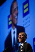 "United States President Barack Obama delivers remarks during the Human Rights Campaign's 15th Annual National Dinner in Washington, D.C. on Saturday, October 1, 2011. The President is speaking to one of the leading gay rights groups two weeks after the repeal of the military's ""Don't Ask, Don't Tell"" policy. .Credit: Kristoffer Tripplaar  / Pool via CNP"