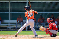 Baltimore Orioles outfielder Chris Pettit (80) during a minor league Spring Training game against the Boston Red Sox at Buck O'Neil Complex on March 25, 2013 in Sarasota, Florida.  (Mike Janes/Four Seam Images)