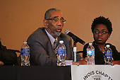 Congressmen, Bobby Rush spoke during a panel discussion Saturday where the topic of discussion was Fred Hampton and the 45th anniversary of the Illinois Black Panther Party. He is pictured here with Charlene Carruthers of the BYP 100. This event was held at the University of Chicago's Ida Noyes Hall located at 59th and Woodlawn.