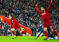 Liverpool's Xherdan Shaqiri celebrates scoring his side's second goal<br /> <br /> Photographer AlexDodd/CameraSport<br /> <br /> The Premier League - Liverpool v Manchester United - Sunday 16th December 2018 - Anfield - Liverpool<br /> <br /> World Copyright © 2018 CameraSport. All rights reserved. 43 Linden Ave. Countesthorpe. Leicester. England. LE8 5PG - Tel: +44 (0) 116 277 4147 - admin@camerasport.com - www.camerasport.com
