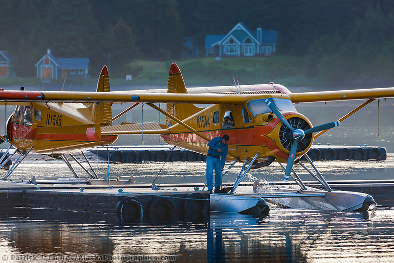 Float planes at a dock in Kodiak, Kodiak Island, Alaska.