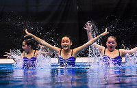 Tauranga Synchro aquanauts trio. Day One of the 2018 North Island Synchronised Swimming Championships at Wellington Regional Aquatics Centre in Wellington, New Zealand on Saturday, 19 May 2018. Photo: Dave Lintott / lintottphoto.co.nz
