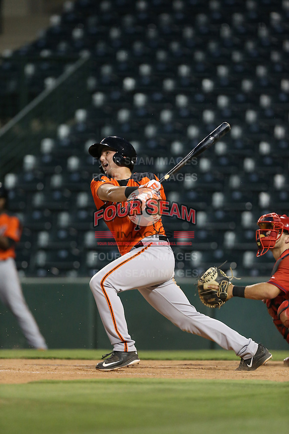 Cody Brickhouse (7) of the AZL Giants bats during a game against the AZL Angels at Tempe Diablo Stadium on July 6, 2015 in Tempe, Arizona. Angels defeated the Giants, 3-1. (Larry Goren/Four Seam Images)