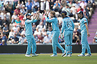 Eoin Morgan (England) celebrates with Joe Root (England) on the dismissal of Shimron Hetmyer (West Indies) during England vs West Indies, ICC World Cup Cricket at the Hampshire Bowl on 14th June 2019