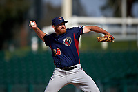 Lancaster JetHawks relief pitcher Heath Holder (26) delivers a pitch during a California League game against the Inland Empire 66ers at San Manuel Stadium on May 20, 2018 in San Bernardino, California. Inland Empire defeated Lancaster 12-2. (Zachary Lucy/Four Seam Images)
