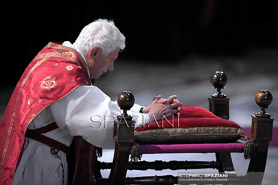 Pope Benedict XVI the ceremony of the Good Friday Passion of the Lord Mass in Saint Peter's Basilica at the Vatican ..April 6, 2012.