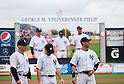 (L-R) Joe Girardi, Brett Gardner, Derek Jeter (Yankees),<br /> FEBRUARY 27, 2014 - MLB :<br /> Manager Joe Girardi, Brett Gardner and Derek Jeter of the New York Yankees during a pre game ceremony before a spring training baseball game against the Pittsburgh Pirates at George M. Steinbrenner Field in Tampa, Florida, United States. (Photo by Thomas Anderson/AFLO) (JAPANESE NEWSPAPER OUT)