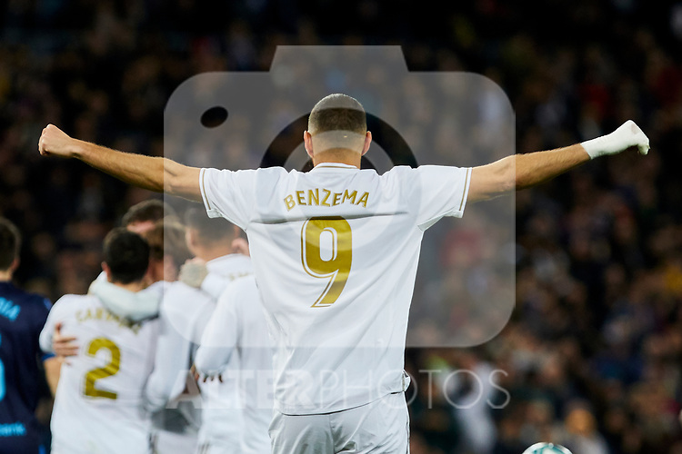 Karim Benzema of Real Madrid celebrates goal during La Liga match between Real Madrid and Real Sociedad at Santiago Bernabeu Stadium in Madrid, Spain. November 23, 2019. (ALTERPHOTOS/A. Perez Meca)