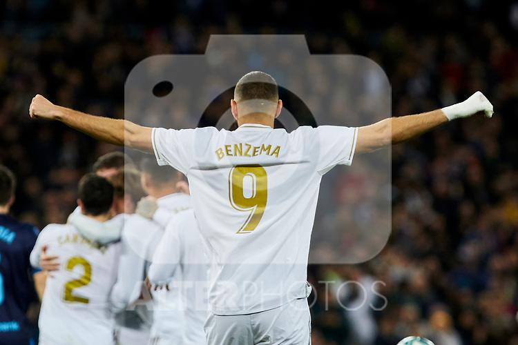 Karim Benzema of Real Madrid celebrates goal during La Liga match between Real Madrid and Real Sociedad at Santiago Bernabeu Stadium in Madrid, Spain. November 23, 2019. (ALTERPHOTOS/A. Perez Meca)