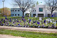 Paisley Park Studios viewed behind the Prince memorial fence. Paisley Park Studios Chanhassen Minnesota MN USA