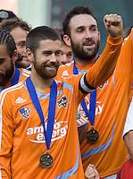 Houston Dynamo defender (24) Wade Barrett celebrates. The Houston Dynamo defeated the New England Revolution 2-1 in the finals of the MLS Cup at RFK Memorial Stadium in Washington, D. C., on November 18, 2007.
