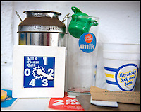 BNPS.co.uk (01202 558833)<br /> Pic: RachelAdams/BNPS<br /> <br /> Some of the dairy ephemera Peter has collected as well as the bottles. <br /> <br /> In a glass of his own...<br /> <br /> Dairy-daft Peter Hayward is udderly devoted to his bizarre hobby - collecting vintage milk bottles.<br /> <br /> The 70-year-old has devoted the last 30 years to building up a whopping collection of more than 1,000 bottles.<br /> <br /> Peter, a former dairy worker, scours the south west of Britain in search of rare bottles emblazened with the colourful logos of old dairies.<br /> <br /> And since retiring 16 years ago his collection has swelled so much that he has been forced to turn his garage into a mini museum.<br /> <br /> Peter's obsession with milk started as a 10-year-old when he helped his local milkman on his weekend rounds to earn some pocket money.<br /> <br /> He later joined Express Dairies as a distribution manager, working alongside hundreds of independent dairy farmers.<br /> <br /> When he retired in the late 1990s Peter had amassed a sizeable collection in his office - and decided to devote his free time to growing it.