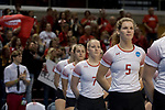 GRAND RAPIDS, MI - NOVEMBER 18: Cora Lutz (5) of Wittenberg University stands at attention during a playing of the national anthem during the Division III Women's Volleyball Championship held at Van Noord Arena on November 18, 2017 in Grand Rapids, Michigan. Claremont-M-S defeated Wittenberg 3-0 to win the National Championship. (Photo by Doug Stroud/NCAA Photos via Getty Images)