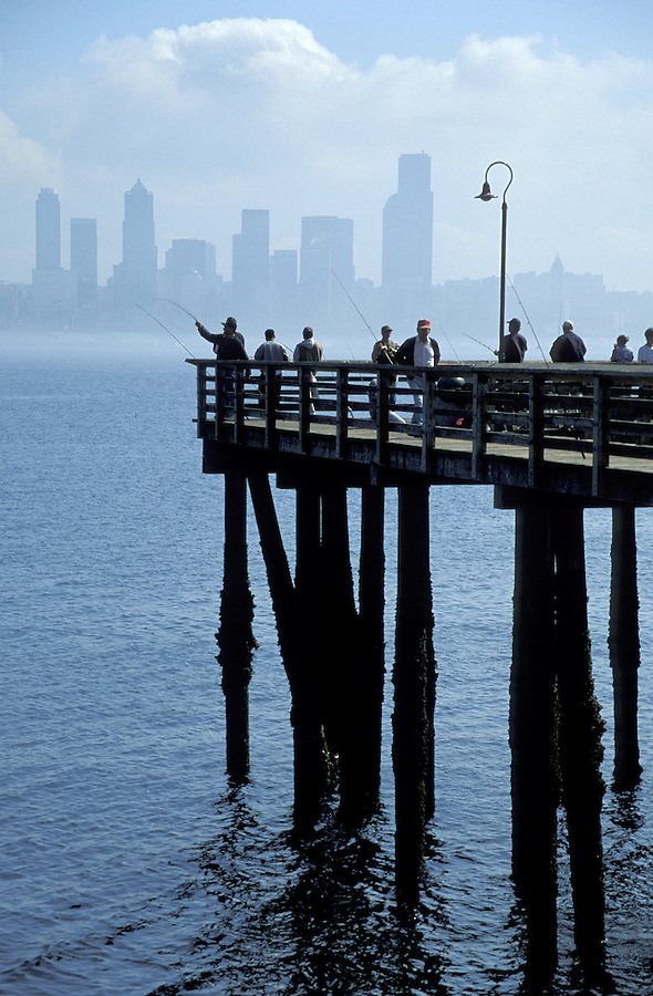 Fishermen on pier, Seattle, Washington