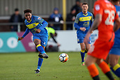 5th November 2017, Damson Park, Solihull, England; FA Cup first round, Solihull Moors versus Wycombe Wanderers; Oladapo Afolayan of Solihull Moors threads a pass forward