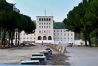 The university building on the Sheshi Nene Tereza Square. Road works in front. Tirana capital. Albania, Balkan, Europe.
