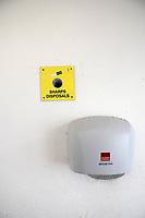Sharps disposal in public toilets, Newlyn, Cornwall UK