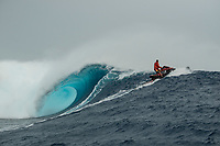 Namotu Island Resort, Nadi, Fiji (Sunday, May 27th 2018):  Water patrol -Ryan Hargrave (USA)<br /> There had been strong SE winds all night along with heavy rain so the ocean was messy at first light. Cloudbreak was big and bumpy at dawn and the namotu boat was the first in the line up. The set waves were in the 15' plus range  and the ocean needed to settle down before any one hit the water.<br /> As the tide dropped it cleaned up and the first surfers paddled out. The first ridden waves were tow-in and in the 20' plus range. The swell was the biggest just after the low tide and stayed in the 15'-20' range for the rest of the day.<br /> Crew paddled and towed into the waves and there were also crew who kite surfed when the wind ws strong enought.<br /> There were strong wind all day and overcast conditions with long periods of rain. The huge swell forecast had big wave surfers flying in from around the world and it had already been call the 'Black Mamba' swell, one of the biggest to hit Fiji in the past six years.  <br /> Photo: joliphotos.com