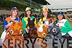 COMPETING: Taking part in the Rose of Tralee Festival and Jigsaw fundraiser Horse Race at the Kingdom Greyhound Stadium on Saturday l-r: Aoife Williams, Tralee, Aisling Moriarty, Tralee, Cornelia Prendivillie, Ballymac and Noreen Moriarty, Tralee.