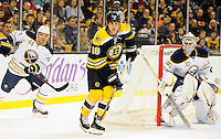 Boston Bruins right wing Nathan Horton #18 waits in the Sabers zone between Buffalo Sabres goalie Ryan Miller #30 and Buffalo Sabres defenseman Andrej Sekera #44 hoping for a pass...GATEHOUSE NEWS SERVICE PHOTO BY ERIC CANHA