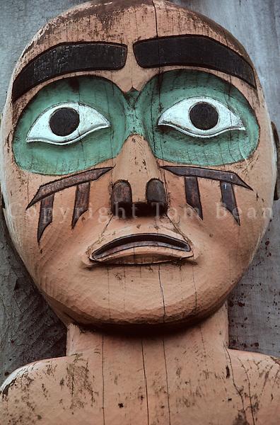 Face on Tlingit totem pole, Chief Shakes House, Wrangell, Alaska, AGPix_0006.
