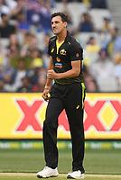1st November 2019; Melbourne Cricket Ground, Melbourne, Victoria, Australia; International T20 Cricket, Australia versus Sri Lanka; Mitchell Starc of Australia celebrates a wicket - Editorial Use