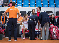 Bratislava, Slovenia, April 23, 2017,  FedCup: Slovakia-Netherlands, Dubbles, Burger gets sick during the match<br /> Photo: Tennisimages/Henk Koster