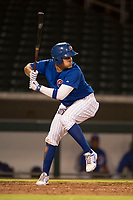 AZL Cubs 1 first baseman Luis Hidalgo (17) at bat during an Arizona League game against the AZL Diamondbacks at Sloan Park on June 18, 2018 in Mesa, Arizona. AZL Diamondbacks defeated AZL Cubs 1 7-0. (Zachary Lucy/Four Seam Images)