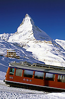Switzerland, Valais, Zermatt, Gornergrat railway and Matterhorn Mountain (4.478 m), the oldest electical powered rack railway of Switzerland