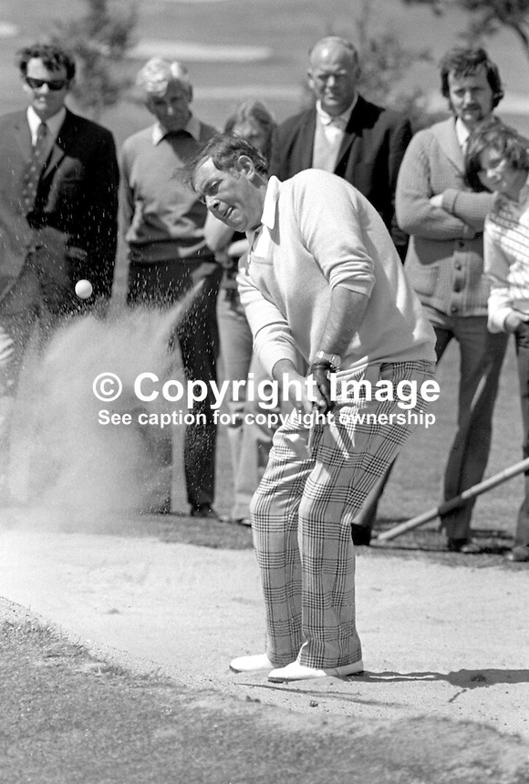 Christy O'Connor, professional golfer, Rep of Ireland, competing in Benson &amp; Hedges sponsored event at Clandeboye Golf Club, Bangor, Co Down, N Ireland, July 1974. 197407000396a<br />