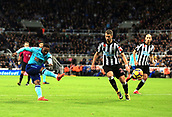 4th November 2017, St James Park, Newcastle upon Tyne, England; EPL Premier League football, Newcastle United Bournemouth; Jermain Defoe of AFC Bournemouth fires in a shot past Florian Lejeune of Newcastle United in the second half