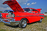 Beautiful red paint job on this 57 Belair at custom car show at Mineral Beach in Finleyville PA. near Pittsburgh.