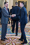 King Felipe VI of Spain and Luka Doncic during audience to the champion  of the 80th edition of the cup of your R.M. The King, Real Madrid Basketball at Zarzuela Palace in Madrid. February 25, 2016 (ALTERPHOTOS/BorjaB.Hojas)