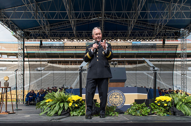 May 15, 2016; Recently retired U.S. Army Gen. Martin E. Dempsey, chairman of the Joint Chiefs of Staff, delivers the 2016 Commencement address at Notre Dame Stadium. (Photo by Barbara Johnston/University of Notre Dame)