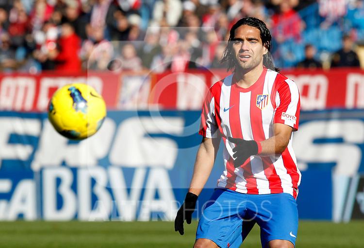 Madrid (04/12/2011).- Estadio Vicente Calderon..LIGA BBVA 15ª Jornada.Atletico de Madrid - Rayo Vallecano..Falcao.......