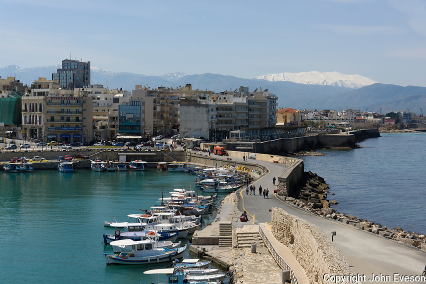 The port at Heraklion, the largest city and the administrative capital of the island of Crete. It is the fourth largest city in Greece