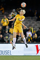 June 7, 2016: MICHELLE HEYMAN (16) of Australia heads the ball during an international friendly match between the Australian Matildas and the New Zealand Football Ferns as part of the teams' preparation for the Rio Olympic Games at Etihad Stadium, Melbourne. Sydney Low/Cal Sport Media.