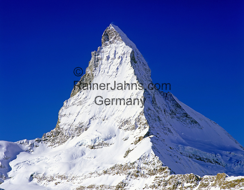 Switzerland, Valais, view from Zermatt at Matterhorn Mountain (4.478 m)