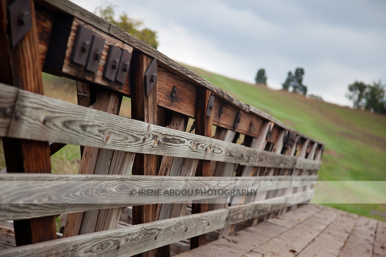 Wood bridge across the street from the Stone House at Manassas National Battlefield Park in Virginia.