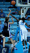 Duke's Allison Vernerey is fouled by UNC's Waltiea Rolle. (Photo by Rob Rowe)