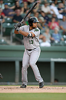 Right fielder Franklin Labour (13) of the Augusta GreenJackets bats in a game against the Greenville Drive on Thursday, August 29, 2019, at Fluor Field at the West End in Greenville, South Carolina. Augusta won, 11-0. (Tom Priddy/Four Seam Images)