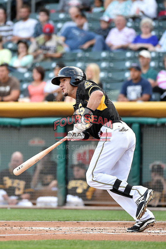 Roberto Lopez (30) of the Salt Lake Bees at bat against the El Paso Chihuahuas in Pacific Coast League action at Smith's Ballpark on August 7, 2014 in Salt Lake City, Utah.  (Stephen Smith/Four Seam Images)
