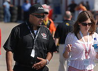 Apr 28, 2007; Talladega, AL, USA; Max Siegel president of DEI and Kelley Earnhardt Elledge during Nascar Nextel Cup Series qualifying for the Aarons 499 at Talladega Superspeedway. Mandatory Credit: Mark J. Rebilas