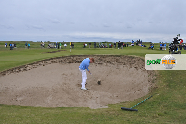John Murphy (Kinsale) plays out of a bunker on the 18th during Round 4 of the East of Ireland Amateur Open Championship at Co. Louth Golf Club in Baltray on Monday 5th June 2017.<br /> Photo: Golffile / Thos Caffrey.<br /> <br /> All photo usage must carry mandatory copyright credit     (&copy; Golffile | Thos Caffrey)
